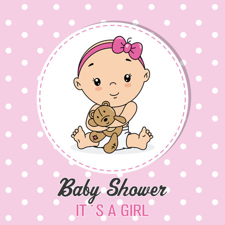 baby shower card. Little girl with a bear