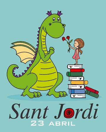 Sant Jordi. Katalonien traditionelles Fest. Mädchen bringt einem Drachen eine Rose