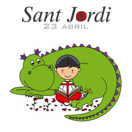 Sant Jordi. Catalonia traditional celebration. Boy and dragon reading a book 矢量图像