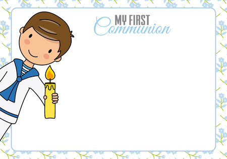 First communion card. Boy with candle and space for text