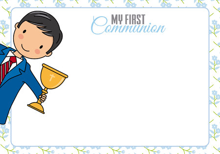 First communion card. Child with chalice and space for text