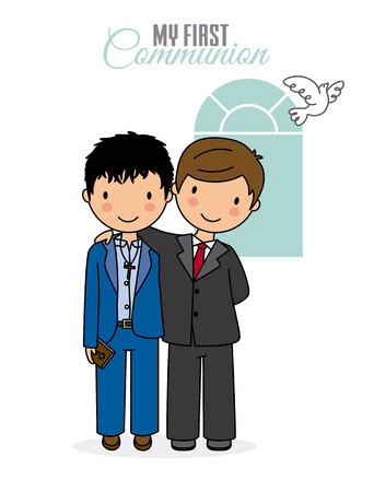 First communion card. Two boys dressed in communion