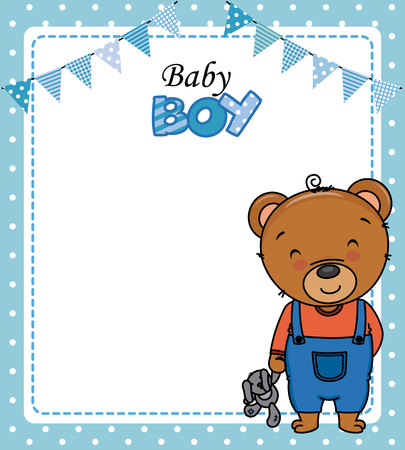 Baby boy shower card. Cute bear with teddy. Space for text