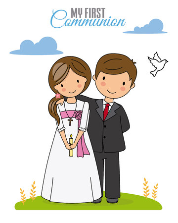 First communion card. Boy and girl dressed in communion