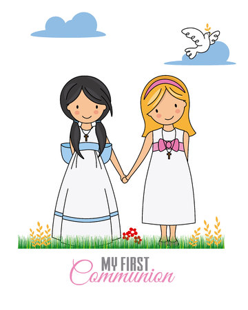First communion card. Two girls dressed in communion 일러스트