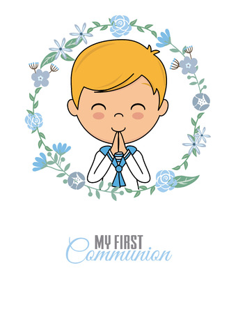 First communion card. Praying boy inside a flower frame