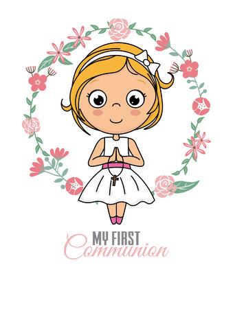 First communion card. Praying girl inside a flower frame