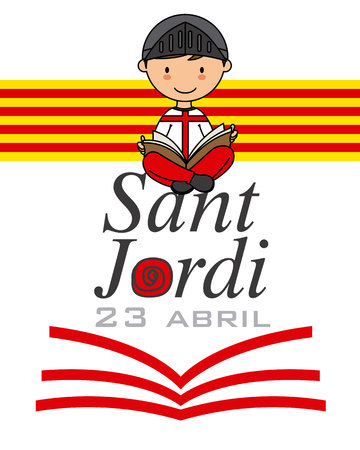 Sant Jordi. Catalonia traditional celebration. Child dressed as a warrior reading a book