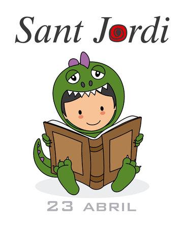 Sant Jordi. Catalonia traditional celebration. Boy dressed as a dragon reading a book Vector Illustration