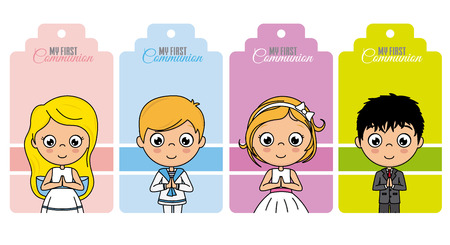 first communion tag set. Girls and boys praying Ilustração