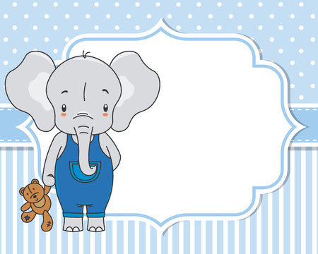 Baby boy shower card. Cute elephant with teddy. Space for text