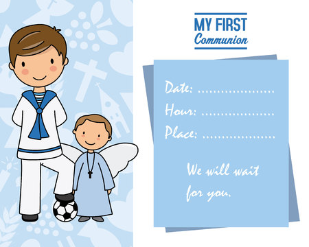 my first communion. Little boy with angel and pace for text Banque d'images - 120533581