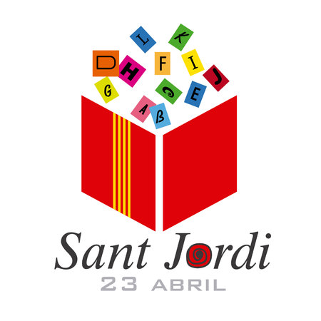 Sant Jordi. Catalonia traditional celebration. abstract vector book and letters