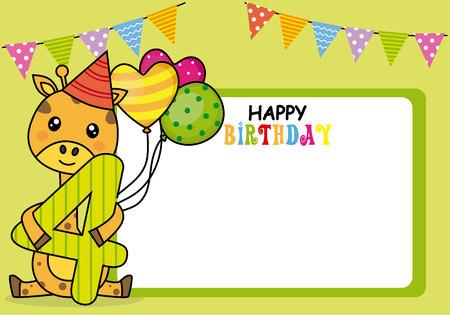 Tarjeta de feliz cumpleaños. Jirafa con globos y el número cuatro. Espacio para foto o texto