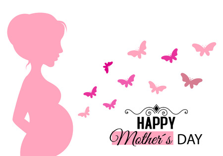 Mothers day card. Pregnant woman