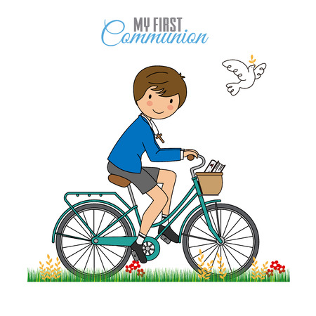 Card my first communion. Boy on a bicycle