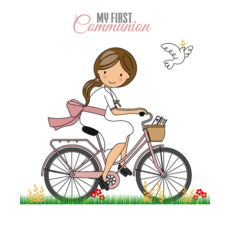 Card my first communion. Little girl on a bicycle 向量圖像