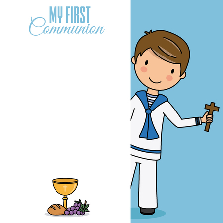 Card my first communion. Boywith a cross. Space to write