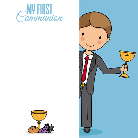 Card my first communion. Boy with a chalice. Space to write