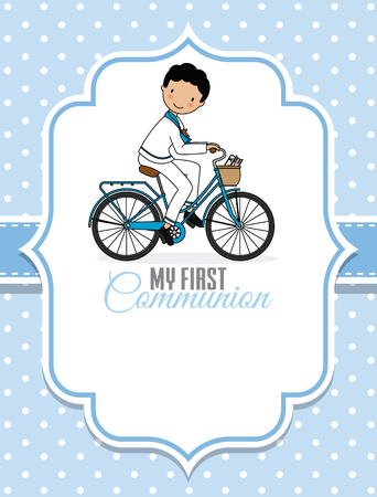 Card my first communion. Boy on a bicycle. Space for text