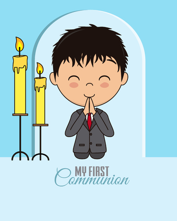 First communion card. Praying boy Stock Illustratie