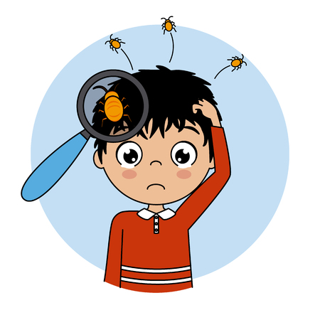 Child crying with lice on the head. Vector isolated Illustration