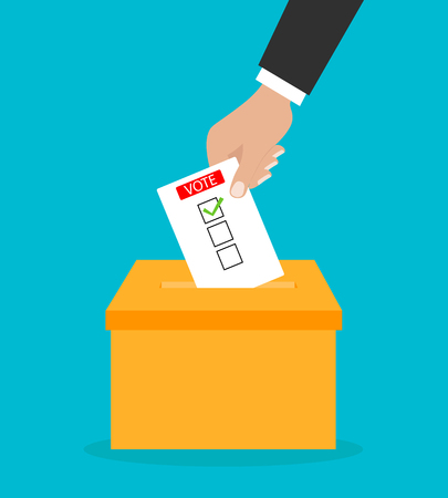 Voting concept. Hand putting paper in the ballot box 矢量图像