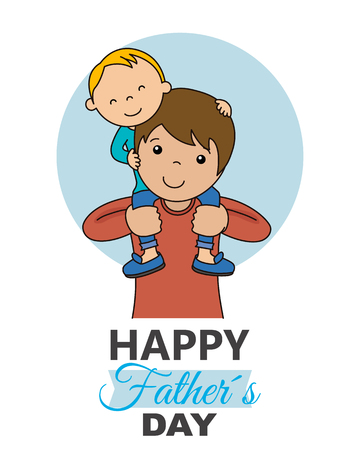 Fathers day card. Boy sitting on top of his fathers shoulders Vettoriali
