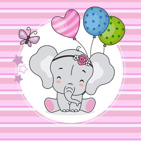 cute elephant with balloons and pink background