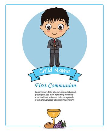 Card my first communion boy. Praying boy Stock Illustratie