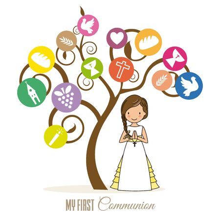 first communion card. Tree with religious icons and girl praying