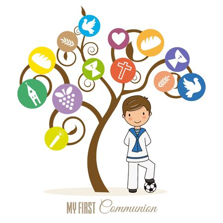 first communion card. Boy next to tree with religious icons