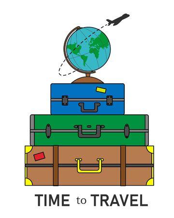 Urlaubskarte. Koffer mit einer Weltkugel und einem herumfliegenden Flugzeug Vektorgrafik
