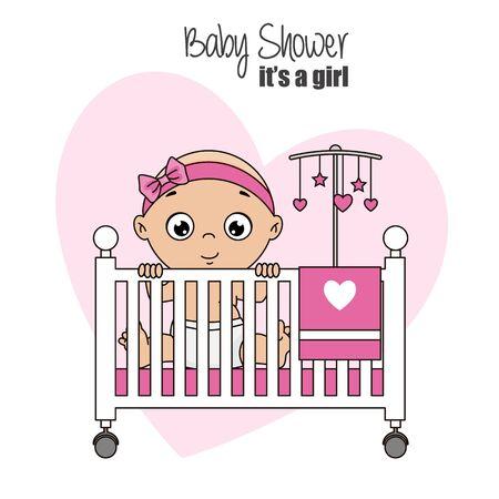 petite fille à l'intérieur du berceau. carte de douche bébé fille. Vecteurs