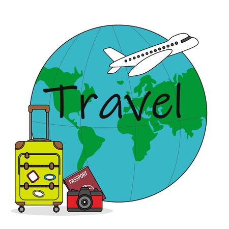 vacation card. World map, plane and travel suitcase