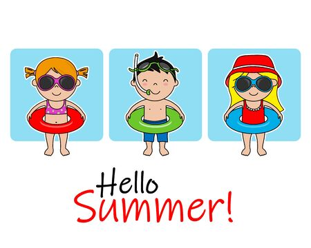 Cute children with swimsuit and float. Isolated vector
