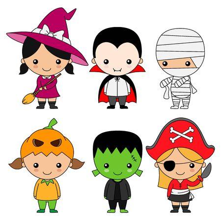 set of children dressed for halloween or carnival. Isolated vector Vetores