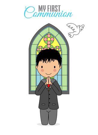 Invitation my first communion. Child praying with church window behind
