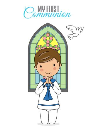 Invitation my first communion. Boy praying with church window behind