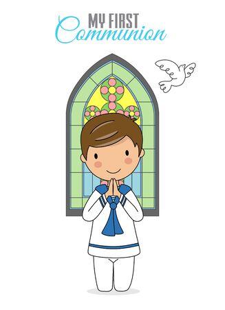Invito la mia prima comunione. Ragazzo che prega con la finestra della chiesa dietro