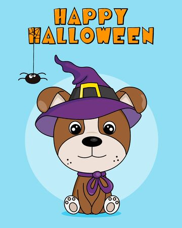 Halloween card. Dog dressed up in a witch hat Illustration
