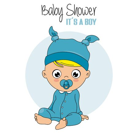 baby shower card. Baby boy with pacifier and blue pajamas