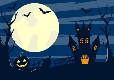 Halloween background. Scary house, cemetery and bats