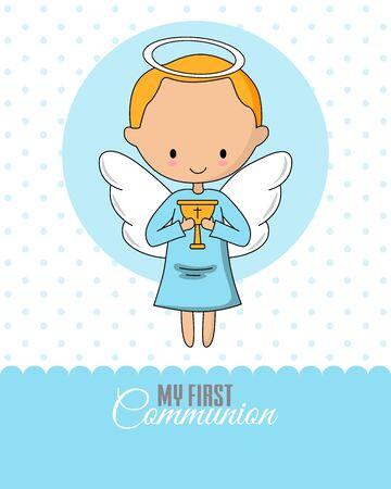 Ángel con cáliz. Tarjeta de comunión o bautismo