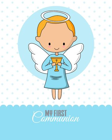 Angel with a chalice. Communion or baptism card
