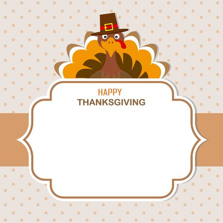 Thanksgiving Greeting Card. Turkey with frame for text