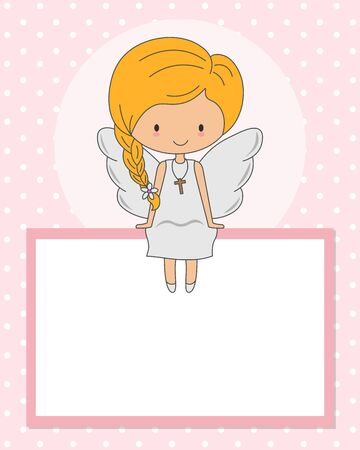 geflügeltes Mädchen, das in einem leeren Rahmen sitzt. Kommunion- oder Taufkarte
