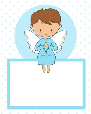 Praying angel sitting in a blank frame. communion or christening card
