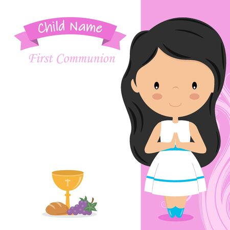 Communion Card. Little girl praying. Space for text Ilustração