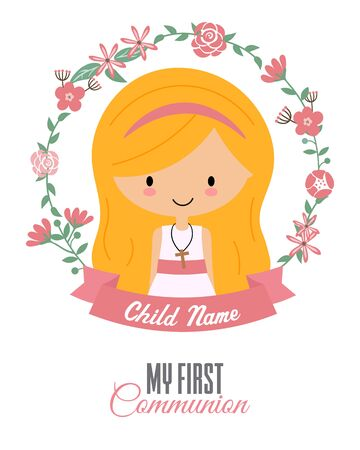 My first communion card. Child inside a flower frame Stock fotó - 133552352